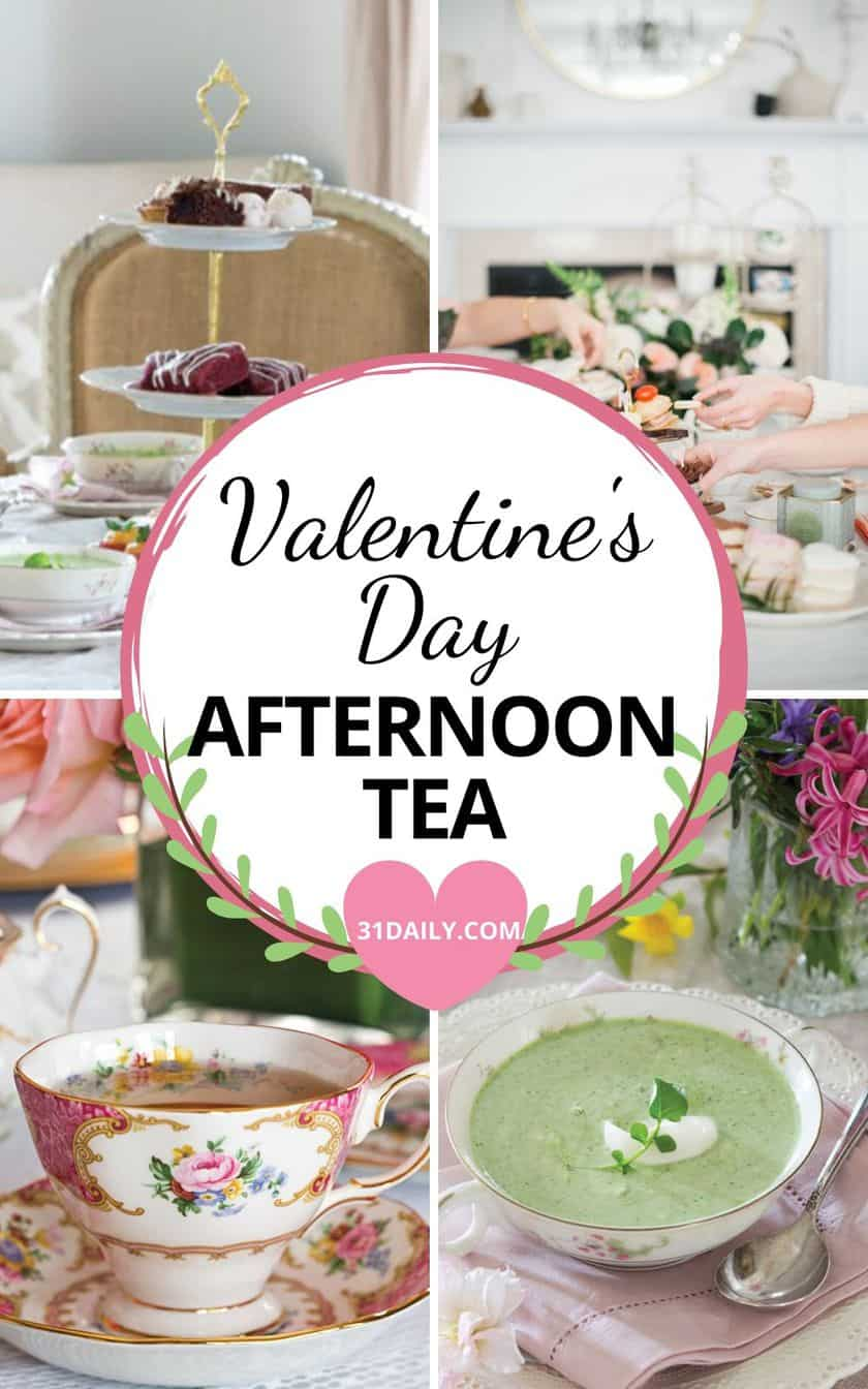 Pinterest Pin for Valentine's Day Afternoon Tea