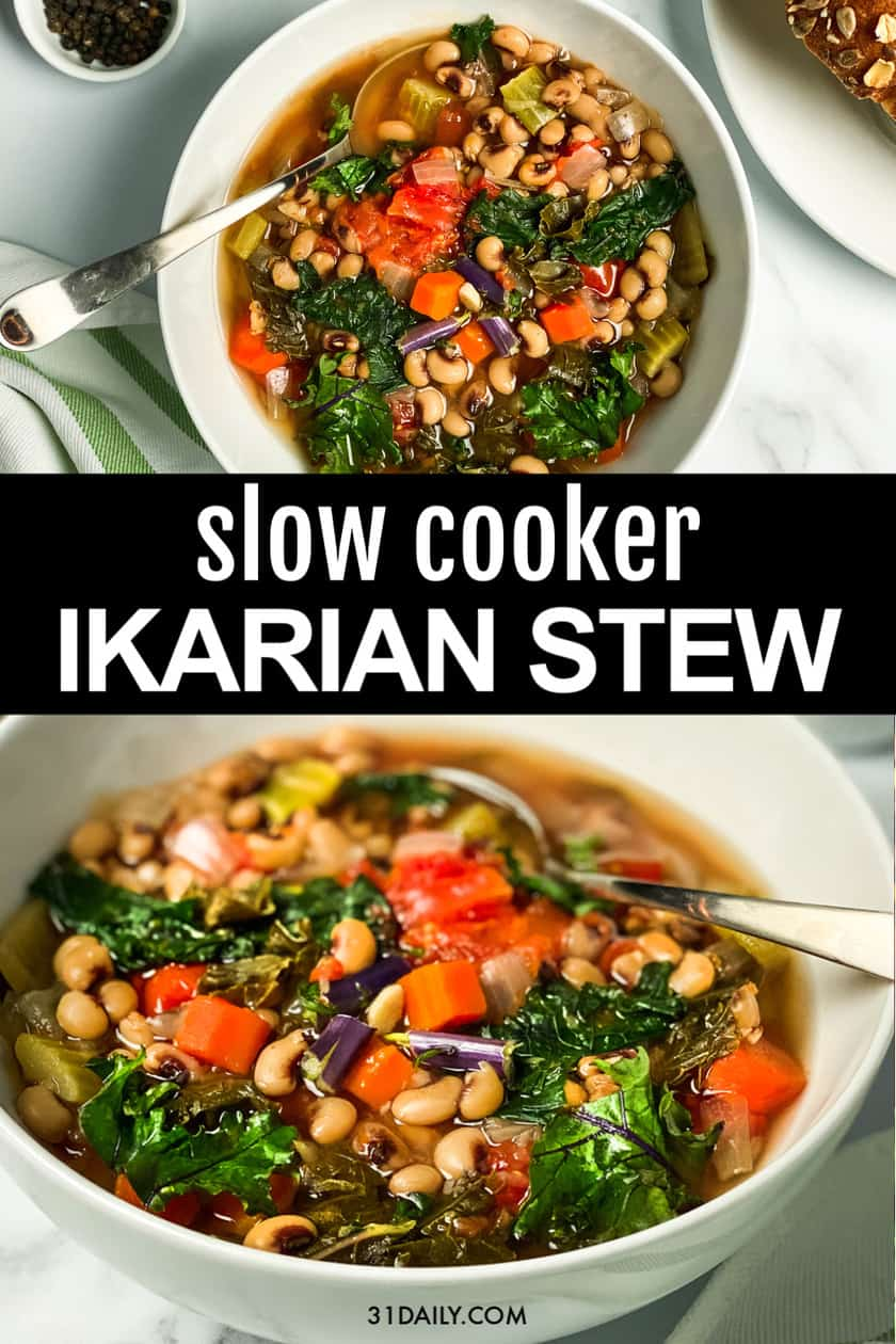 Pinterest Pin for Slow Cooker Ikarian Stew