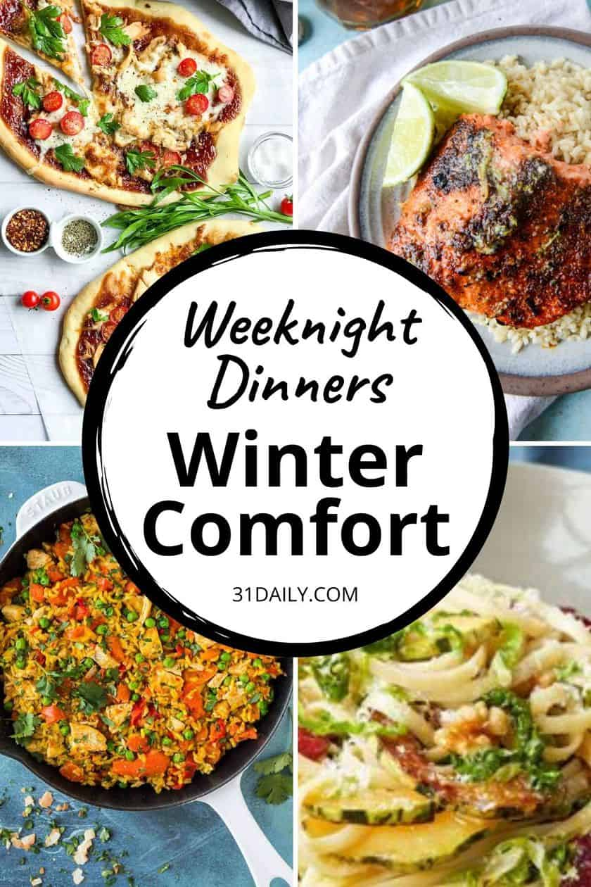Pinterest Pin for Weeknight Dinners Meal Plan