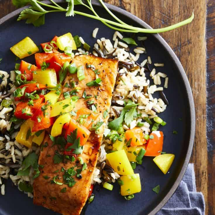 Thursday: Sweet & Spicy Roasted Salmon with Wild Rice Pilaf