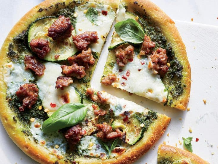 Friday: Zucchini-Pesto-Sausage Pizza