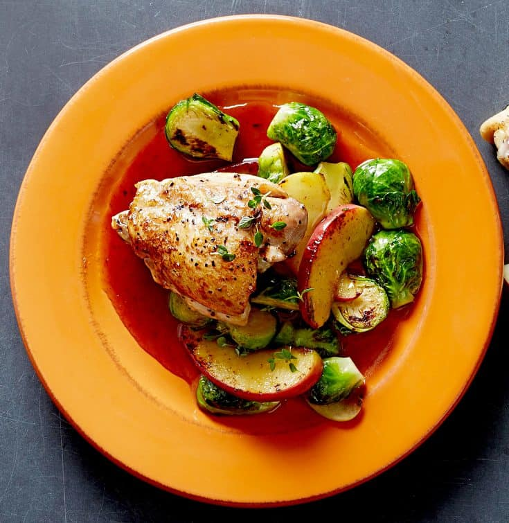 Wednesday: Pan-Roasted Chicken with Brussels Sprouts and Apples