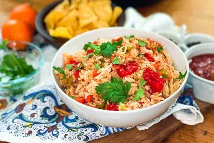 closeup view of Instant Pot Mexican Rice in white bowl