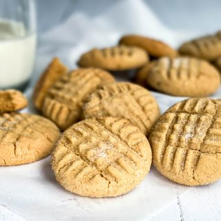 closeup of Peanut Butter Cookies on a white board