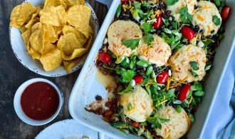 Spicy Black Bean Chili Cornbread Casserole in Baking Pan