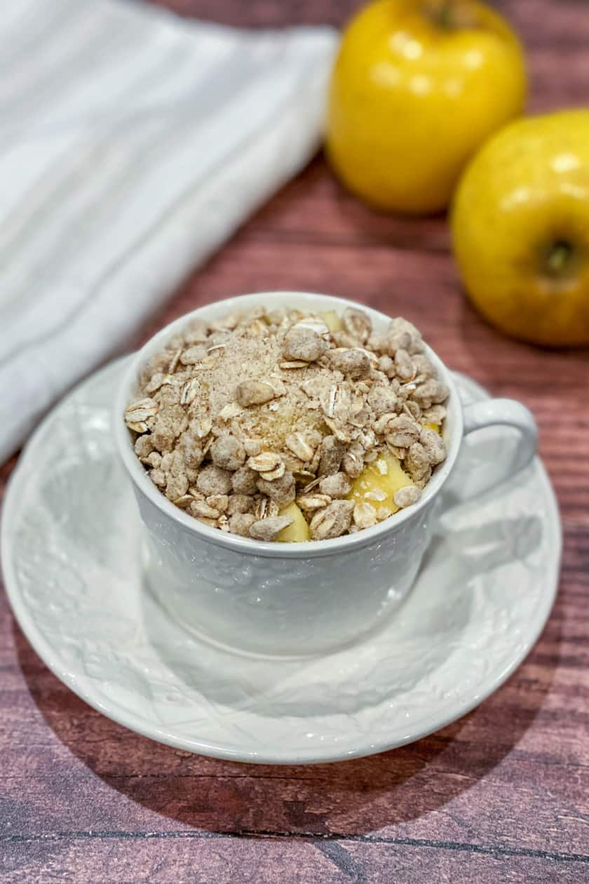 Uncooked Apple Crisp in a Mug