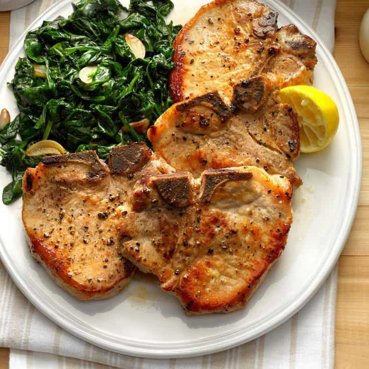 Monday: Sauteed Pork Chops with Garlic Spinach