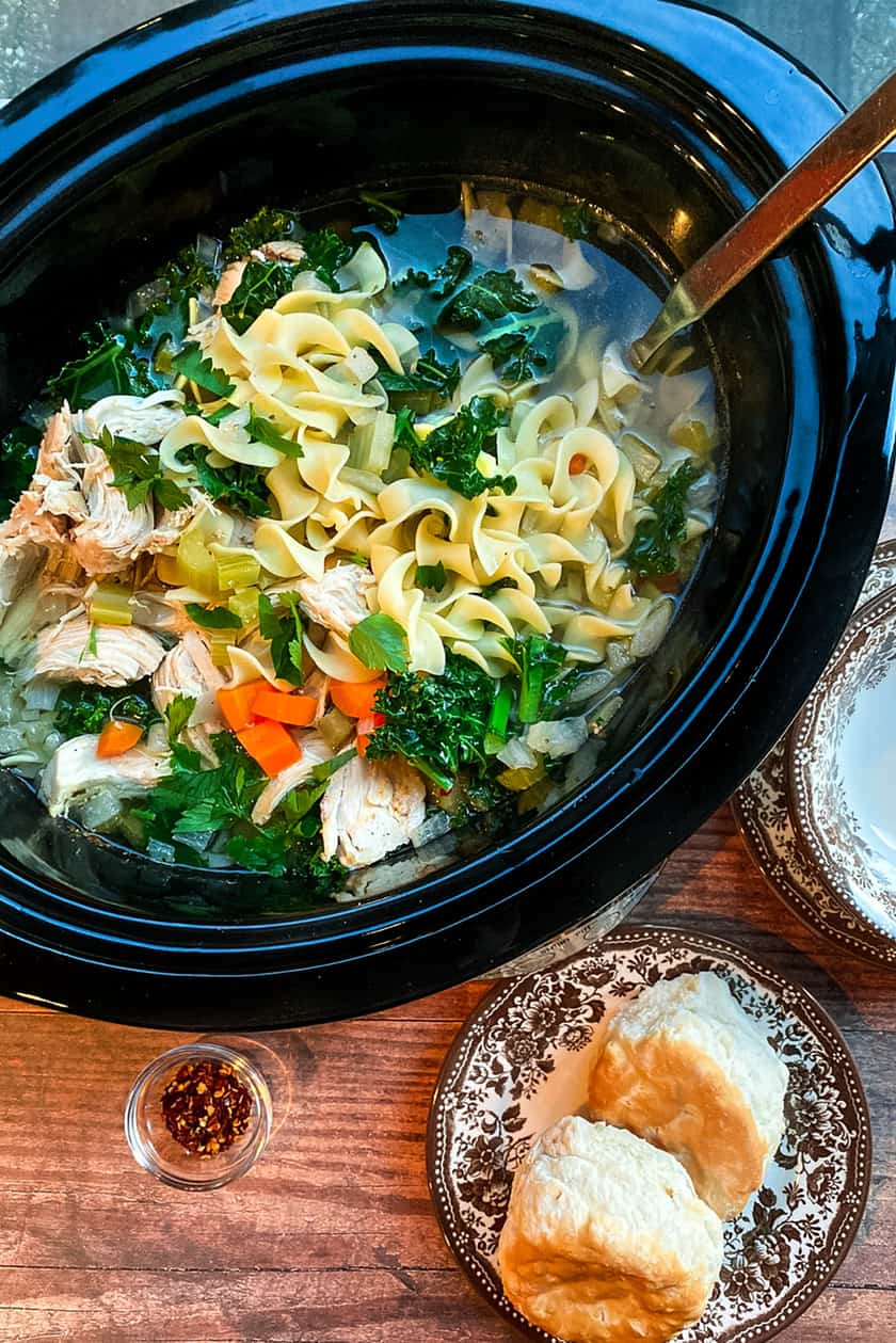 Slow Cooker Chicken Noodle Soup with Kale with a Ladle