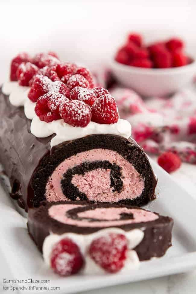 Raspberry Chocolate Swiss Roll - Spend With Pennies