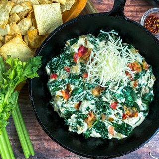 Closeup of Hot Bacon Spinach Dip in Cast Iron Skillet