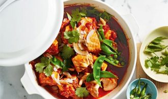 Salmon Curry in a White Pot