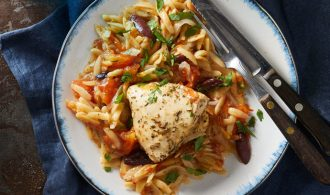 Chicken Thigh and Pasta on a White Plate