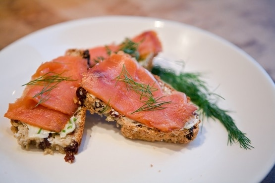 Smoked Salmon on Irish Soda Bread Crostini