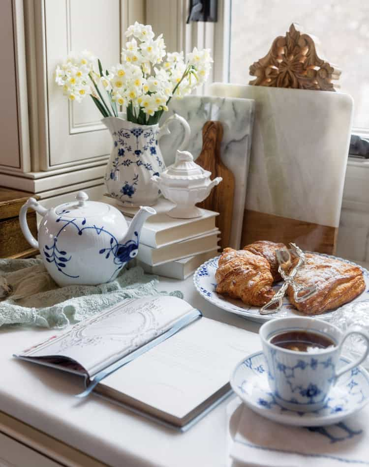 Planning Spring Gatherings with Blue and White Tea Service and Croissants