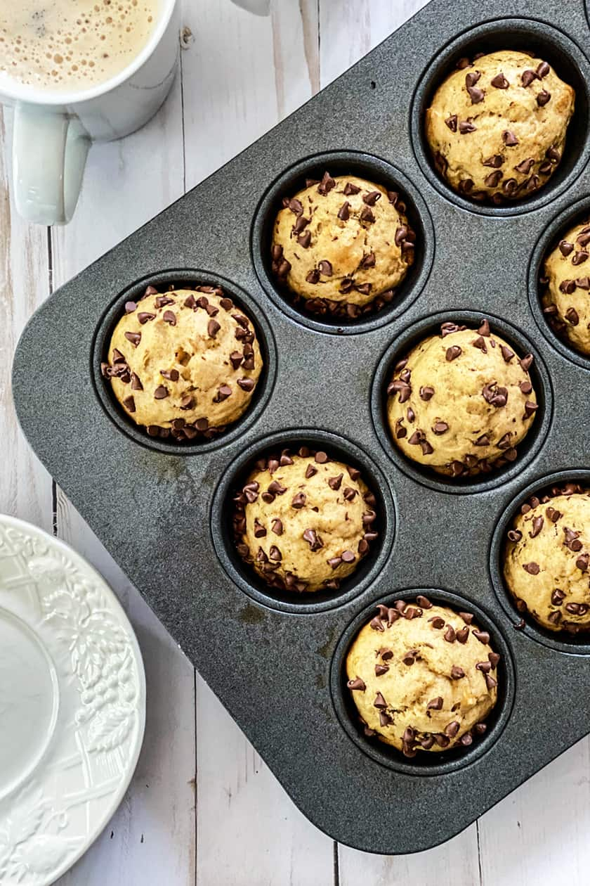 Top view of Peanut Butter Banana Muffins in a Muffin Tins