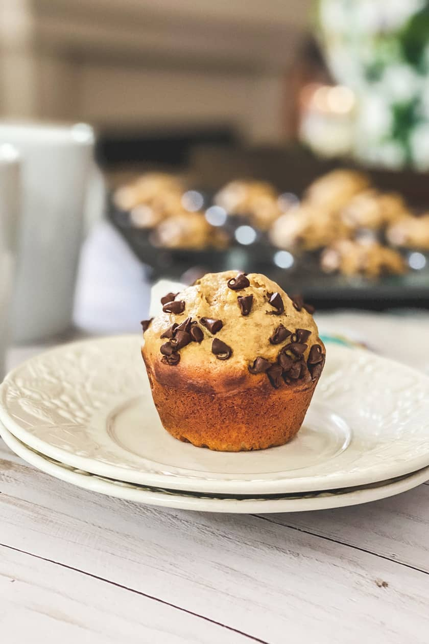 A Peanut Butter Banana Muffins on a White Plate