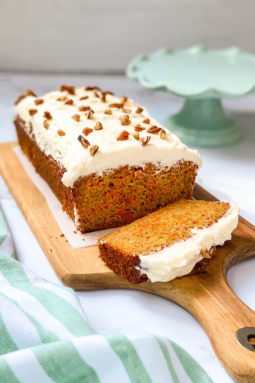 closeup view of sliced carrot cake loaf