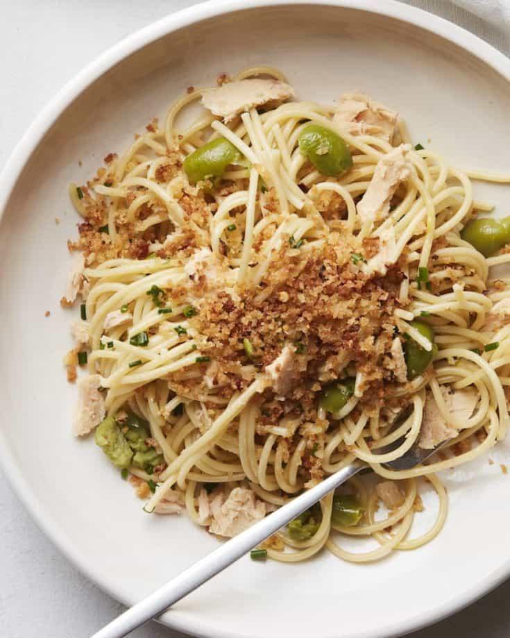 Lemon Spaghetti with Tuna and Breadcrumbs