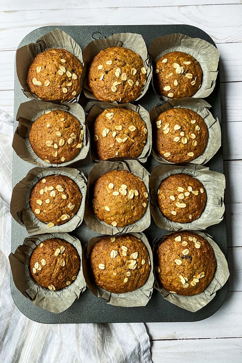 A tin of just baked Morning Glory Muffins