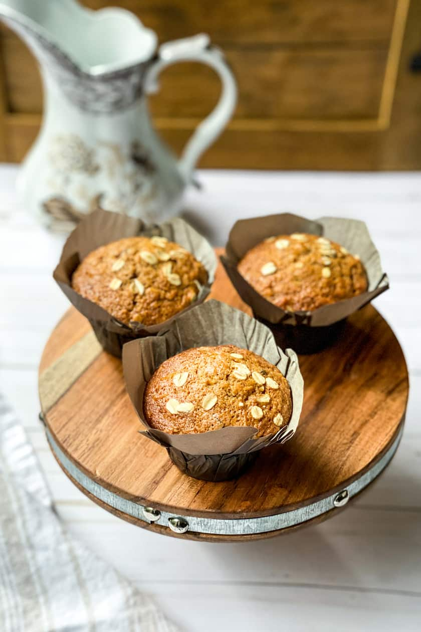 3 Morning Glory Muffins on a Stand