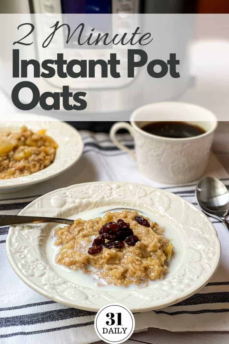 This 2 minute Instant Pot Oatmeal with apples is a creamy, quick and healthy breakfast. Warmed with cinnamon and sweetened with a sprinkling of brown sugar. Or... a drizzle of honey or maple syrup. #instantpotrecipes #breakfast #oatmeal #healthybreakfast #oats #instantpot #instantpotoats #quickrecipes #31Daily