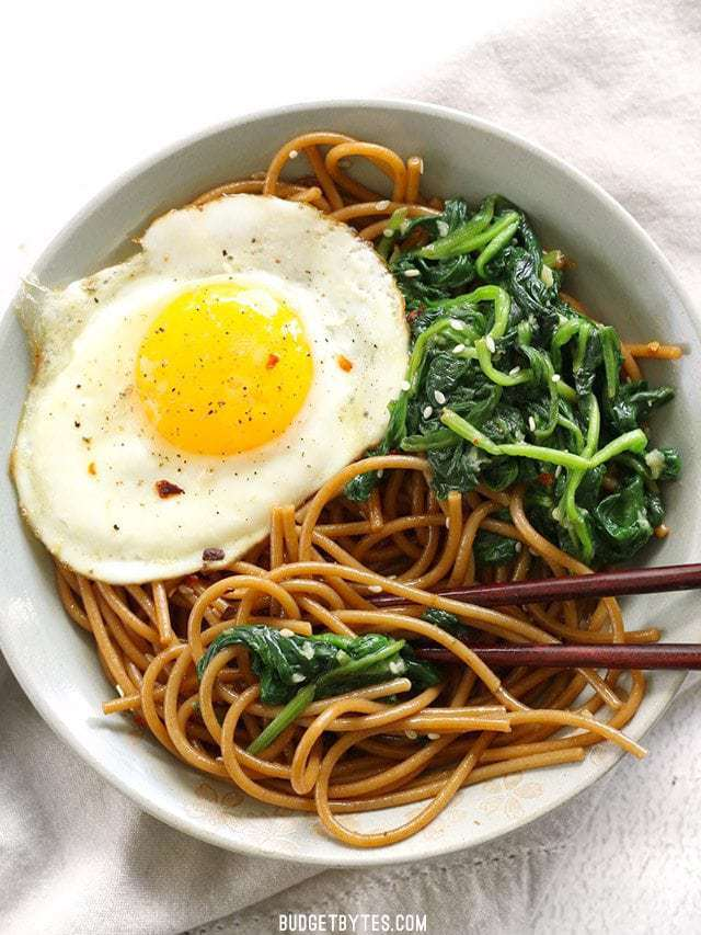 30- Minute Sesame Noodles with Wilted Greens