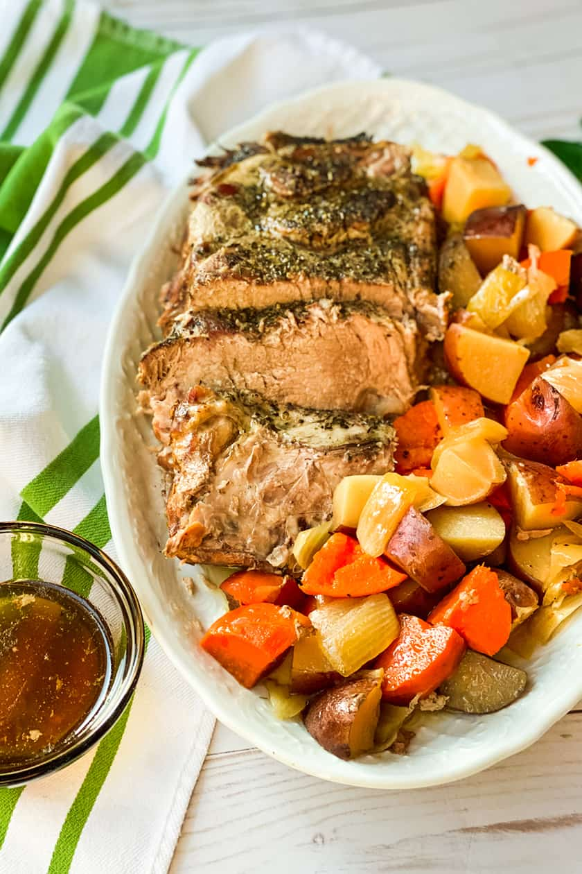 Closeup view of Slow Cooker Pot Roast on a White Serving Platter