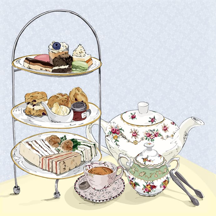 Illustration of Spring Afternoon Tea with Teacups and Teapot