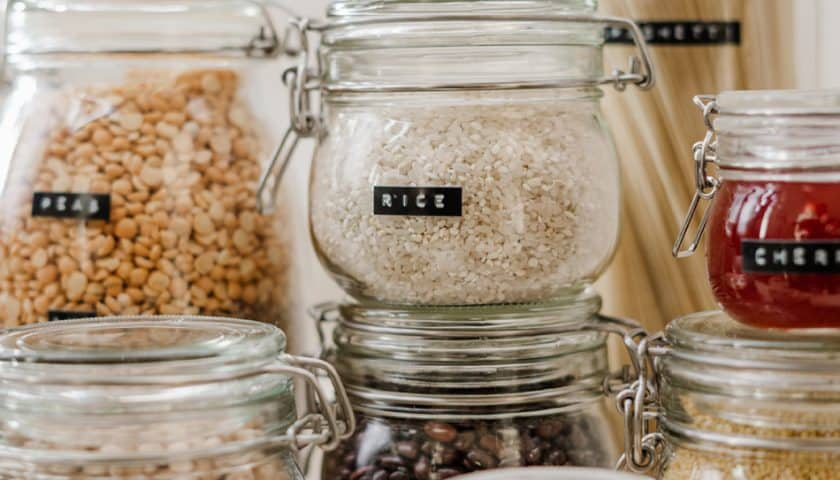 Pantry Staples in Glass Jars