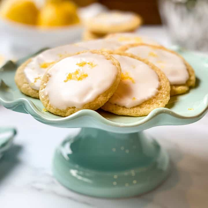 Closeup of Lemon Tea Cookies on a Teal Cake Stand