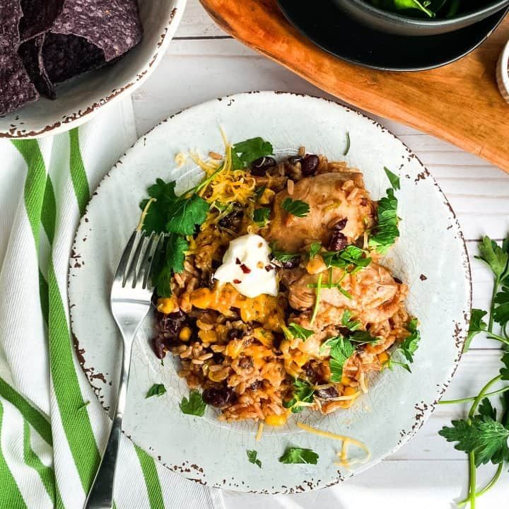 Top view of Chicken Burrito Bowl with Rice and Parsley