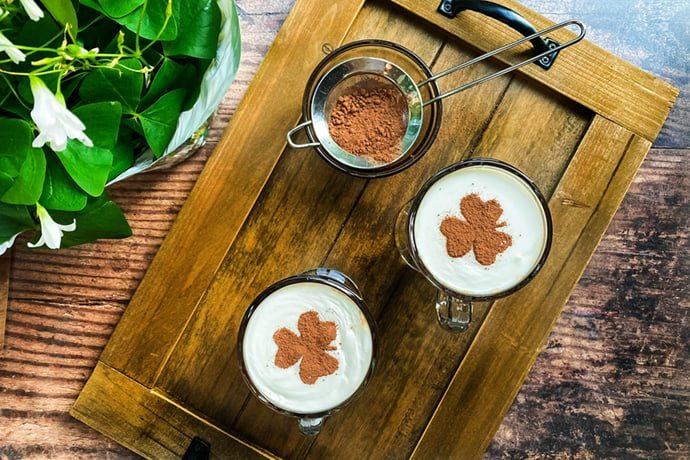 Top view of 2 Irish Coffee mugs with Shamrock Stencil
