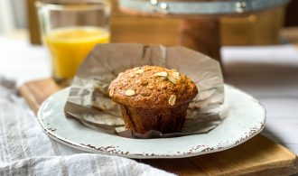 Morning Glory Muffins on a Brown Plate
