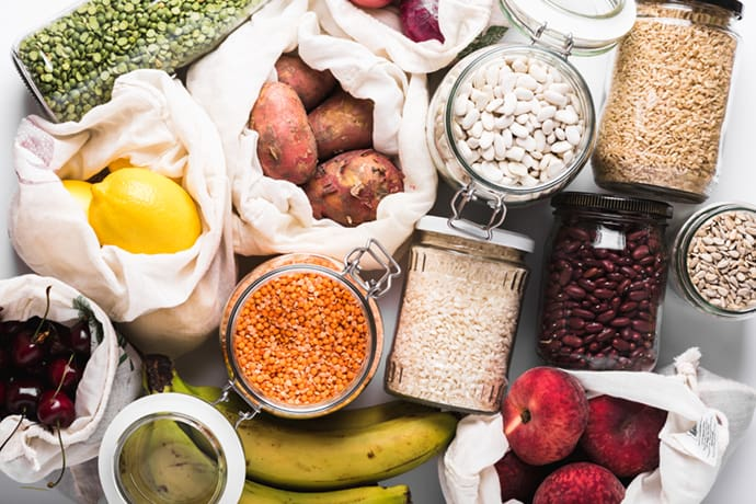 dry and fresh food in containers and bags
