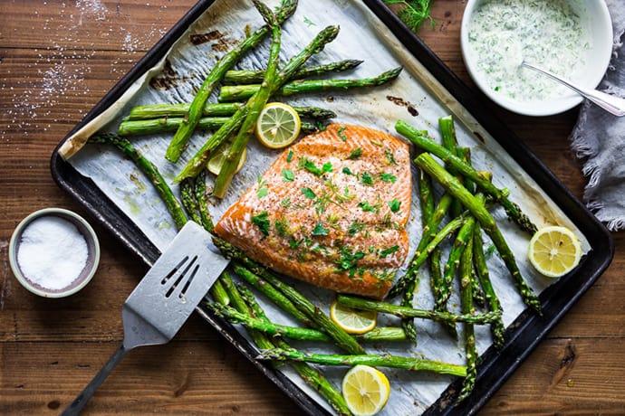 Sheet Pan Roasted Salmon with Asparagus and Lemons