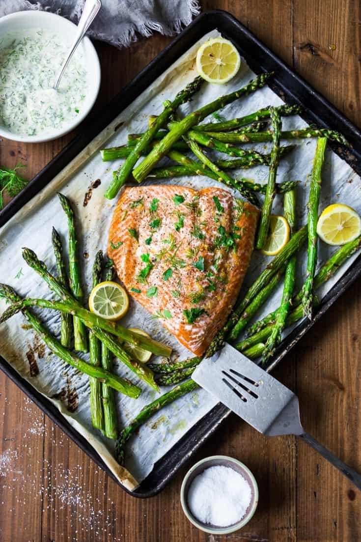 Friday: Simple Baked Salmon with Asparagus and Dill Sauce