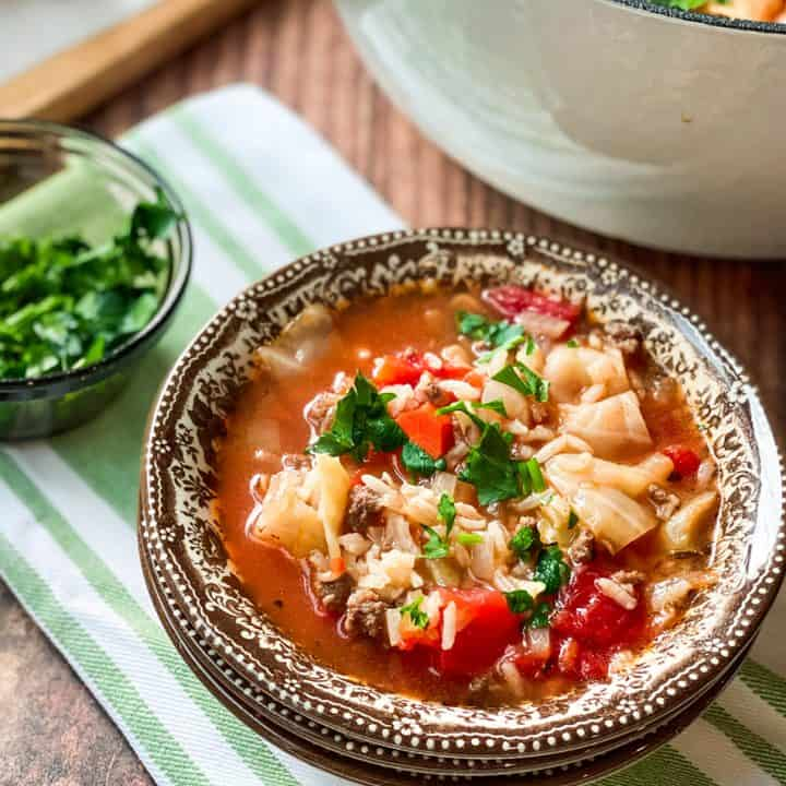 Bowl of Cabbage Roll Soup with Soup Pot and Salad Greens