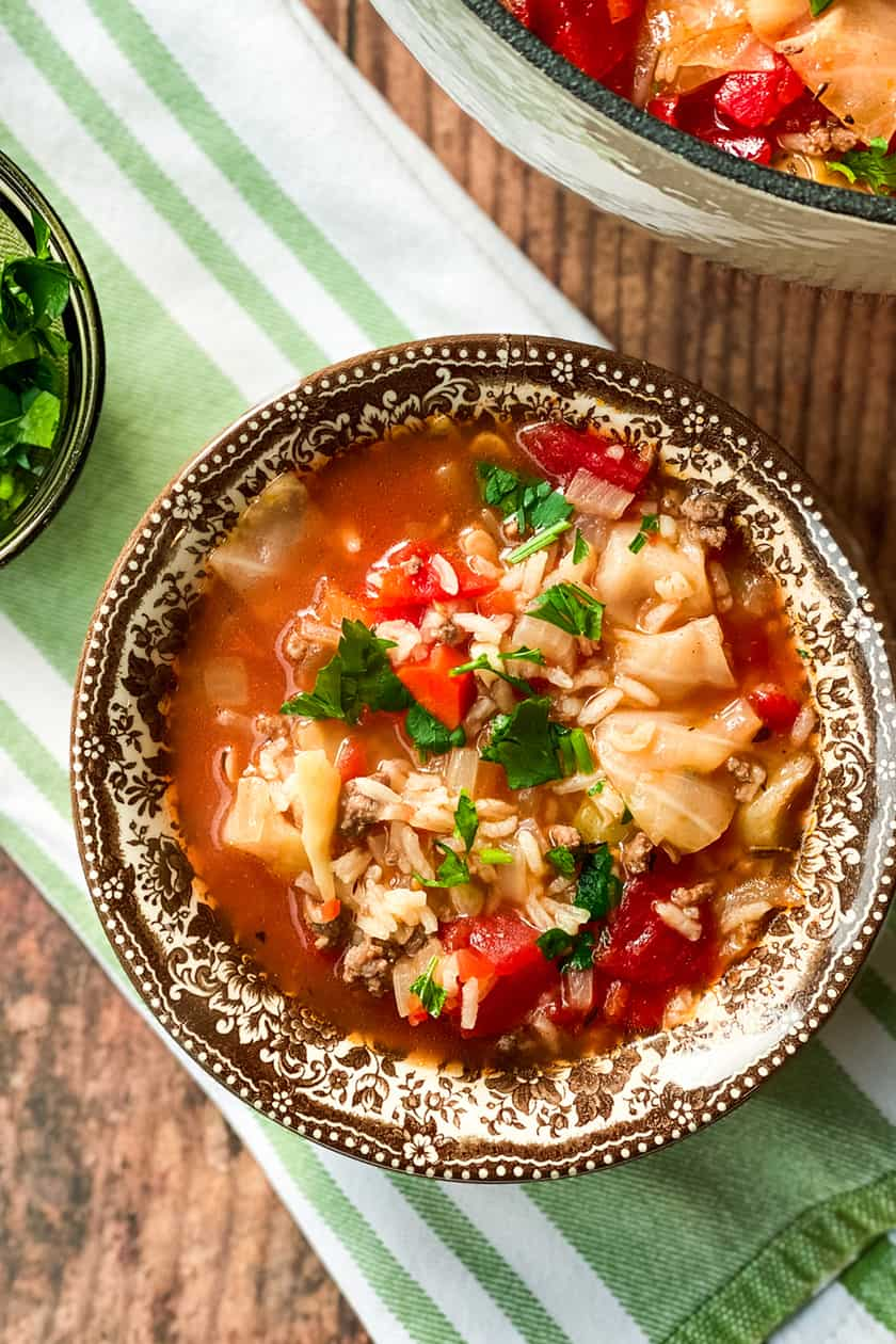 Cabbage Roll Soup in a Brown Transferware Bowl