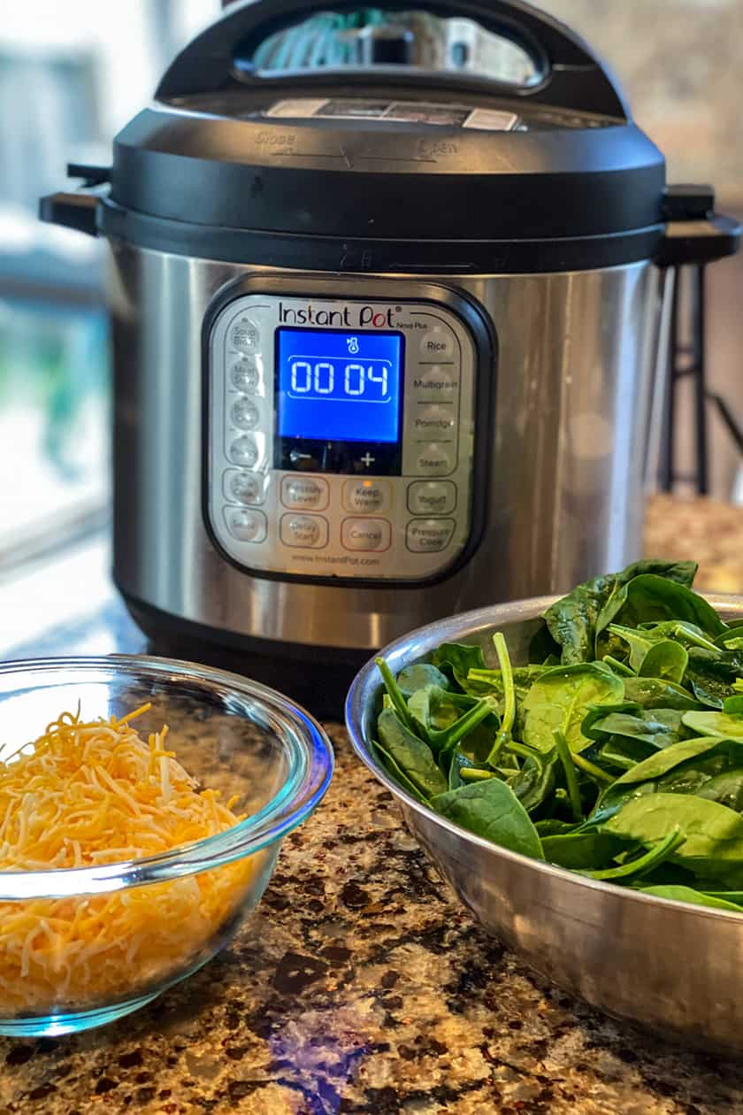 Instant Pot with Shredded Cheese and Raw Spinach