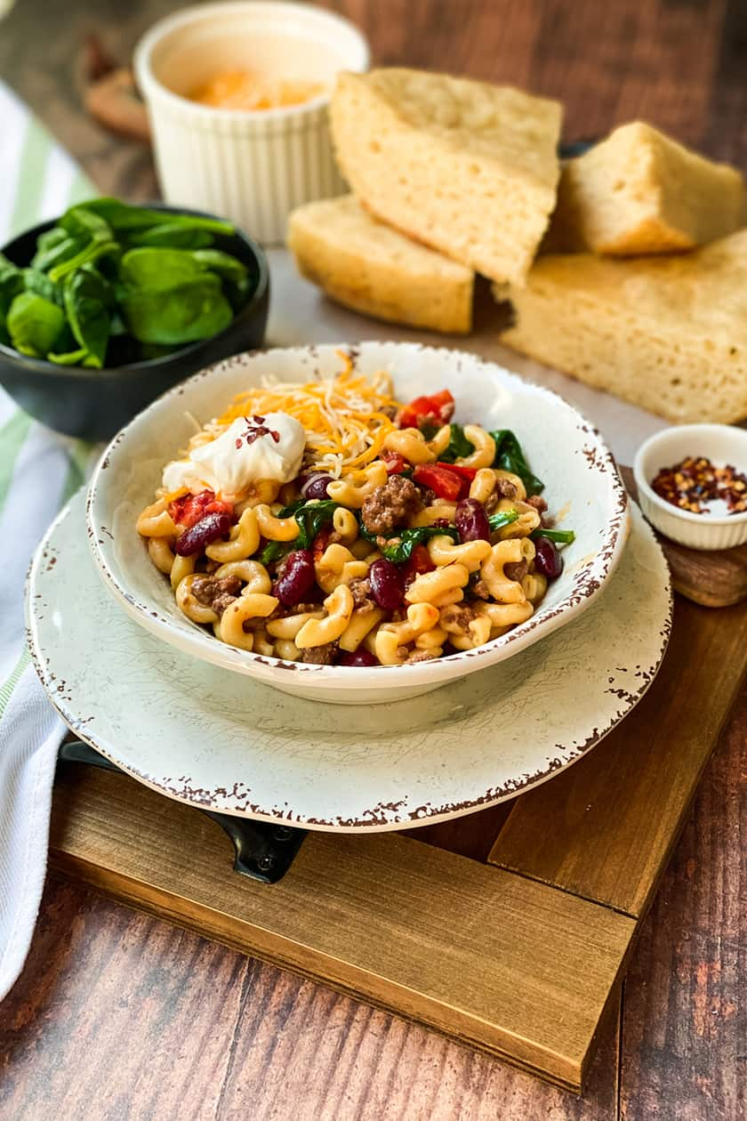 Side view of Chili Mac and Cheese with Spinach