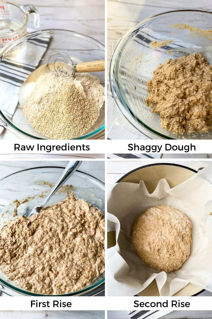 Steps to Making No Knead Whole Wheat Bread