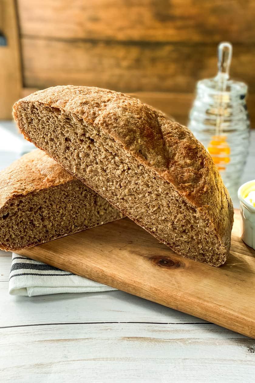 Sliced No Knead Whole Wheat Bread