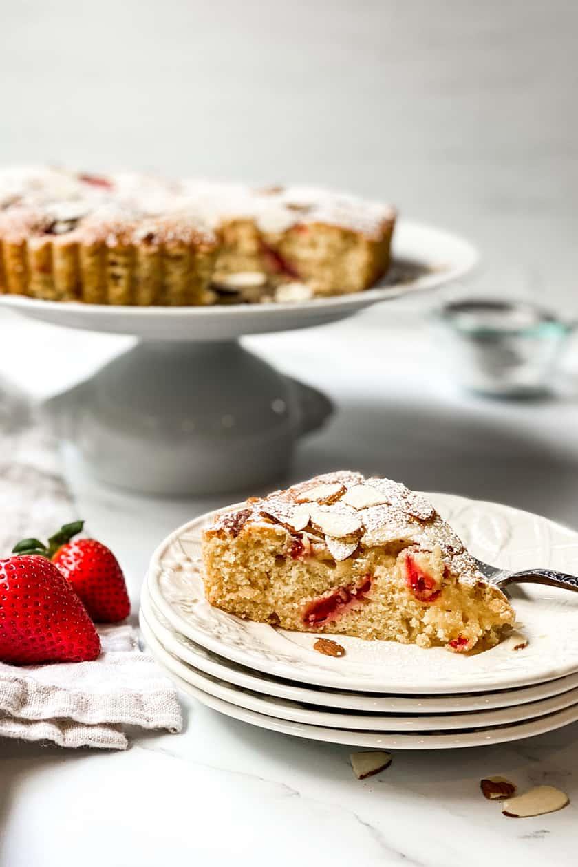 Sliced Strawberry Almond Cake