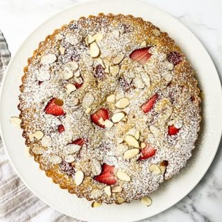 Top view of whole Strawberry Almond Cake