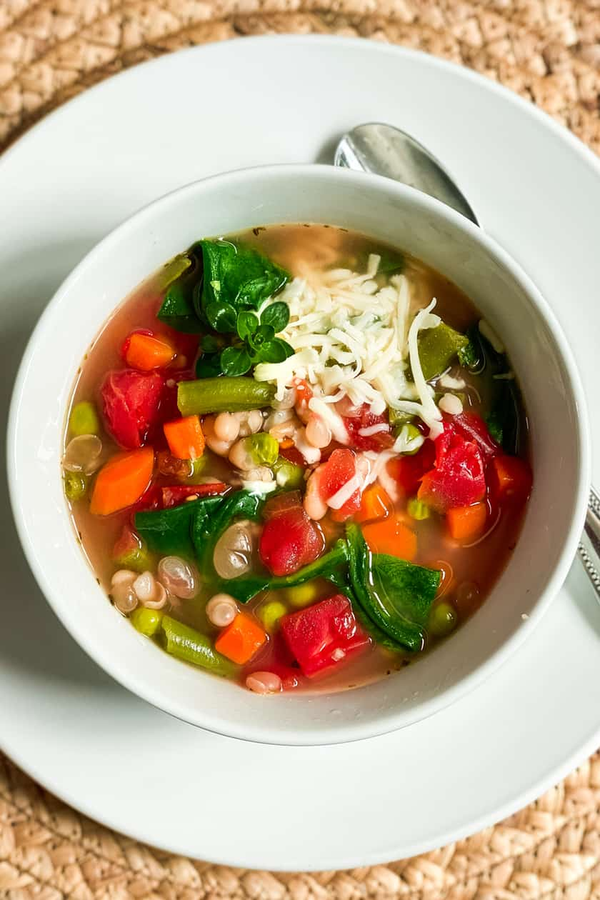 Top view of Instant Pot Vegetable Soup