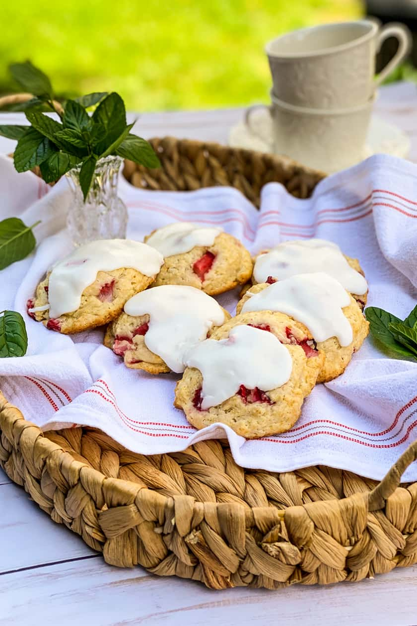 Fresh Strawberry Scones on an outdoor tea table