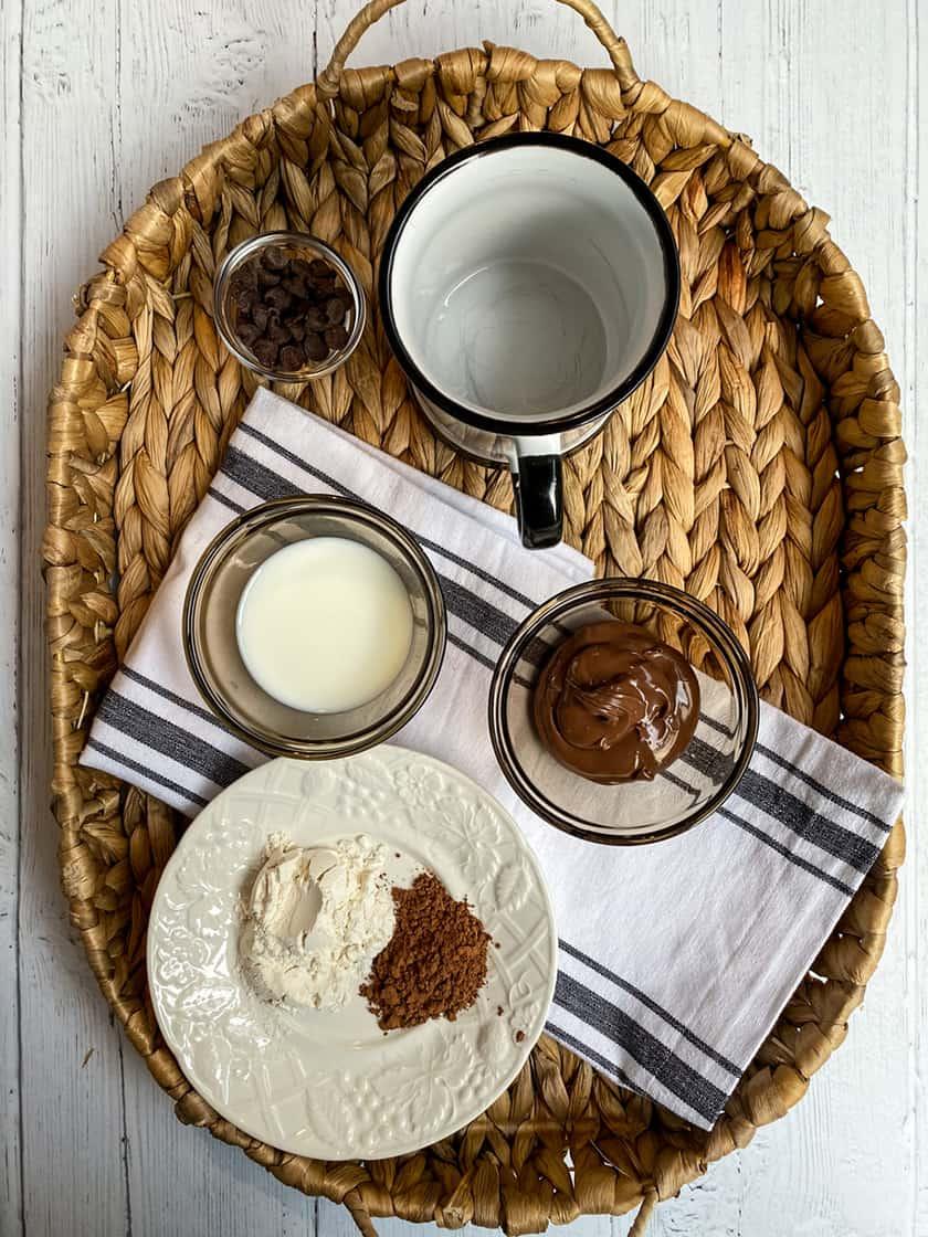 Ingredients for Chocolate Brownie Nutella Mug Cake