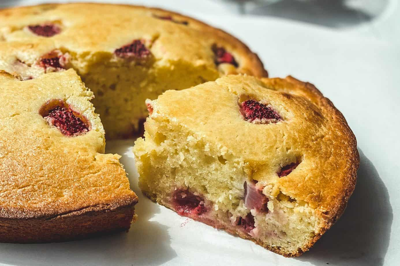 Slice of Strawberry Ricotta Cake