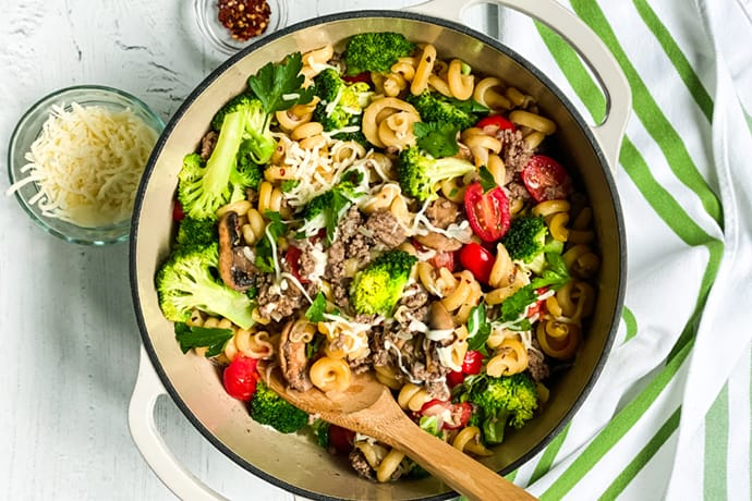 Top view of Easy One Pot Pasta with Ground Beef and Broccoli