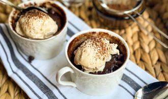 Top view of two Nutella Mug Cakes